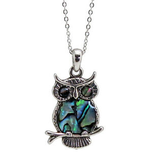 "Kind-Hearted Owl Charm Pendant Fashionable Necklace Abalone Paua Shell 18"" Chain A Complete Range Of Specifications"