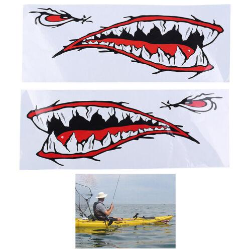 2PCS Waterproof Kayak Boat Shark Teeth Sticker Vinyl Mouth Graphics Decal Dec Qo