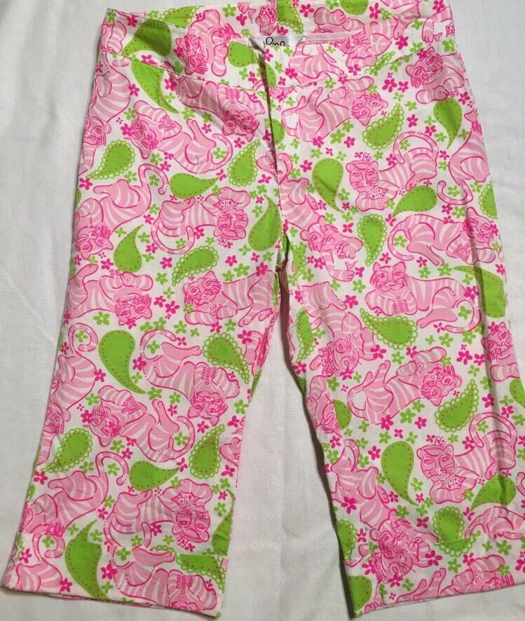 Lilly Pulitzer Pink and Green Tiger Print Bermuda Capri Shorts Size 2