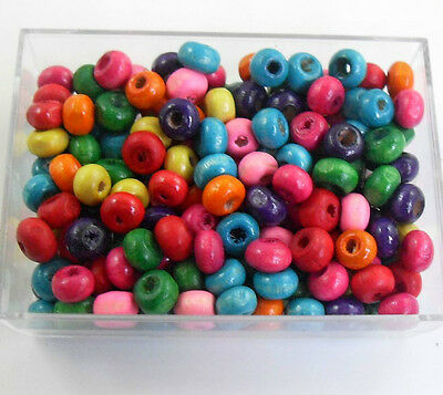 1000Pcs Mixed Color Flat Wood Beads Spacers Charms Jewelry Making Findings 3x4mm