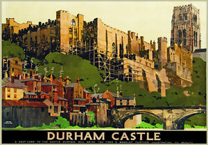 Tu88 Vintage Durham Castle viajar en tren Poster volver a imprimir A2 A3  </span>