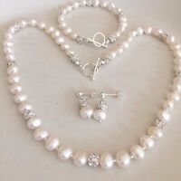 Designer Freshwater Pearl Wedding Jewelry Set Handmade Diamante Sterling Silver