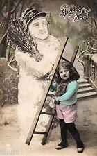 BL260 Carte Photo vintage card RPPC Enfant fantaisie bonhomme de neige echelle