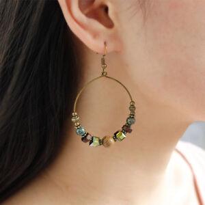 UK-BOHO-ROUND-WOODEN-BEAD-HOOP-EARRINGS-African-Bohemian-Tribal-Ethnic-Jewellery