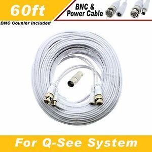 QT 5440 QT5682 QT228 WHITE PREMIUM 100FT BNC CABLES FOR QSEE QT5716 QT5680