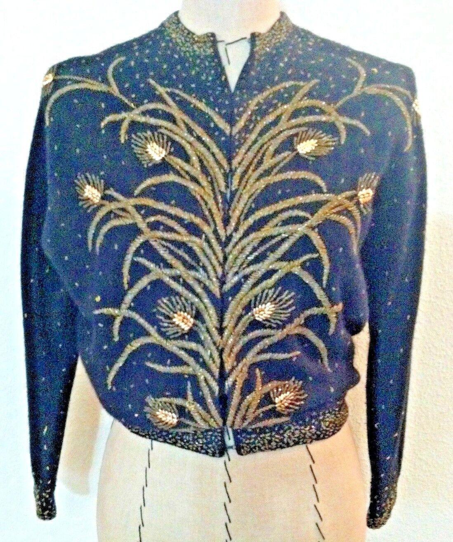 Vintage 30's damen sweater cardigan schwarz Gold bead floral button Beautiful