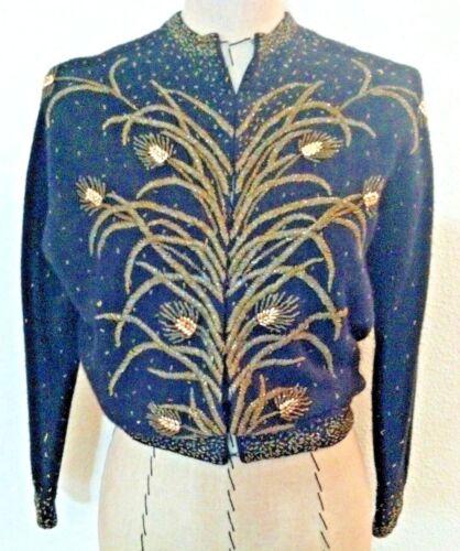 Vintage 30's women sweater cardigan black gold bea