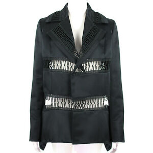Christopher-Kane-Black-Satin-Loop-Tape-Jacket-IT42-UK10