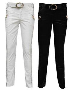 Magen-Kids-Girl-Fashion-Dressy-Black-White-Dance-Pants-Slim-fit-W-Belt-Sz-6-12