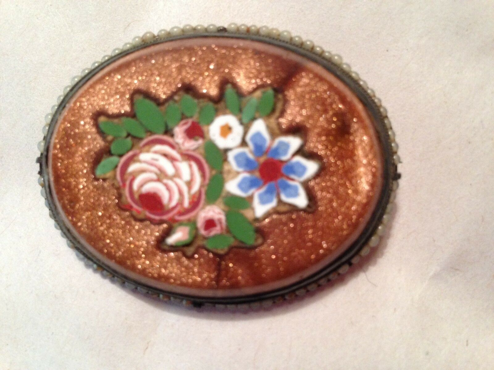 1 7 8x1 5 8  vintage oval coat pin,flower inlay in cameo setting,seed pearls