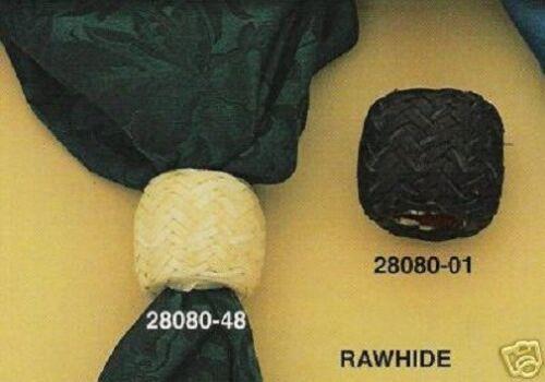 Plaited RAWHIDE Leather ~SCARF SLIDE~ Wild Rag Western Cowboy BLACK TAN