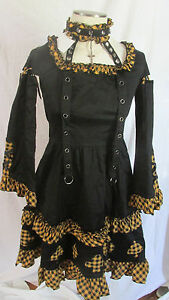 Gothic-Lolita-Black-Dark-Alice-in-Wonderland-Card-Dress-Goth-Bondage-Punk-S-NWT
