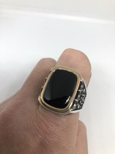 Vintage 925 Sterling Silver Rose Gold Real Black Onyx Size 12 Ring