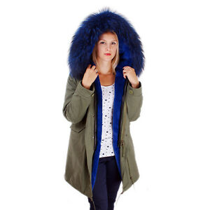 best service a68c6 20c68 Details zu Lang Damen Parka mit blau Pelzbesatz für Kapuze Jacke mit Fell  Winter Mantel FOX
