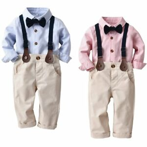 ff4f3967416 Toddler Kids Baby Boys Gentleman Suit Bow Tie Shirt Suspenders Pants ...