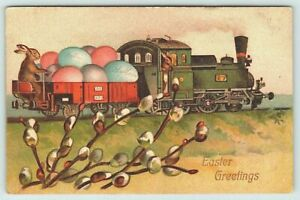 Cute-Bunny-Rabbit-Driving-Train-with-Colored-Eggs-Antique-Easter-Postcard-k842