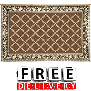 Camping Reversible Mat 9x12 Area Rug Trailer Beach Outdoor Patio Rv