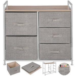 5-Drawer-Bamboo-Shelf-Dresser-Sliding-Cloth-Fabric-Storage-Bins-Chest-Drawers