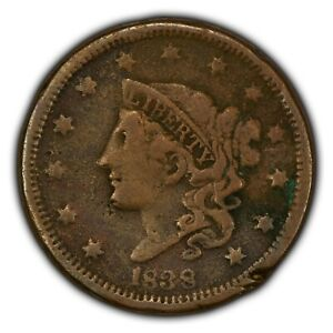 1838 1c Coronet Head Large Cent SKU-Y2610