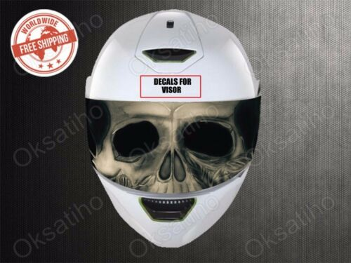 SKULL VISOR HELMET UNIVERSAL Perforated Decals Stickers Printed Vinyl №690