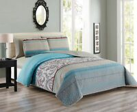 6 Piece Paisley Reversible Bedspread/quilt With Sheet Set