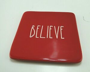 Rae Dunn Christmas BELIEVE RED Cheese Cutting Board Trivet Free Shipping