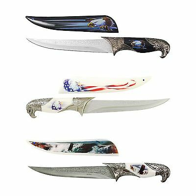 Bald Eagle Dagger 3pc American Flag Knife Collector's Set