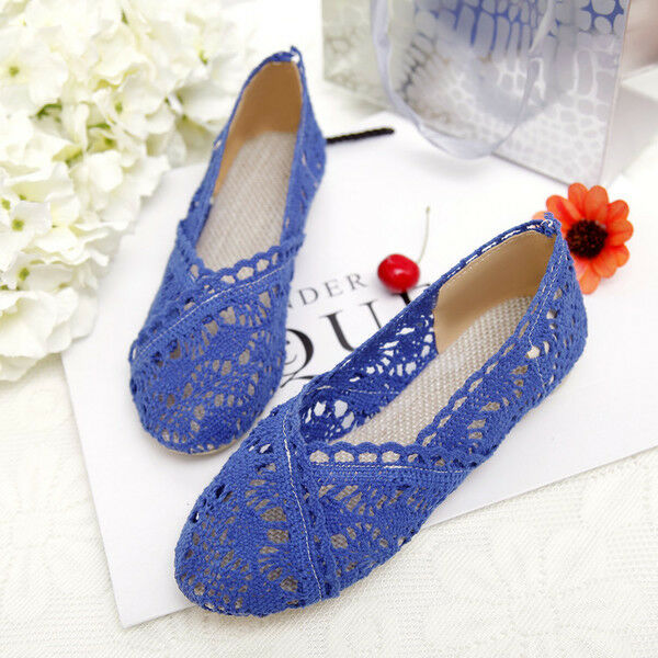 Ballet flats loafers women's shoes comfortable bluee lace crochet like leather