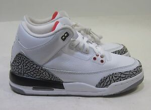 4d206fd9d680 Kids Nike Air Jordan 3 Retro 398614-105 White-Fire Red-Cement Grey ...