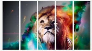 """Abstract Colourful Lion Animal Paint 5 Split Panel Canvas Pictures 5 x 16x40/"""""""