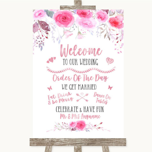 Wedding Sign Poster Print Pink Watercolour Floral Welcome Order Of The Day