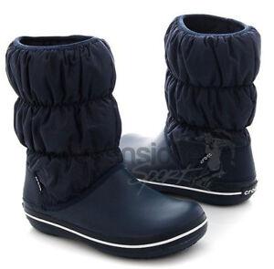 STIVALI-DONNA-CROCS-TG-37-W7-SCARPE-blu-winter-puff-boot-woman-14614-INVERNALI