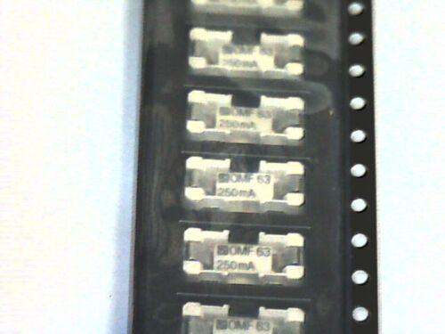 10x SMD Sicherungen Sub-miniature fuse-link 250mA 63V Schurter OMK63 OMF63