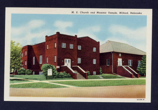 M.E. Church & Masonic Temple Milford Nebraska postcard