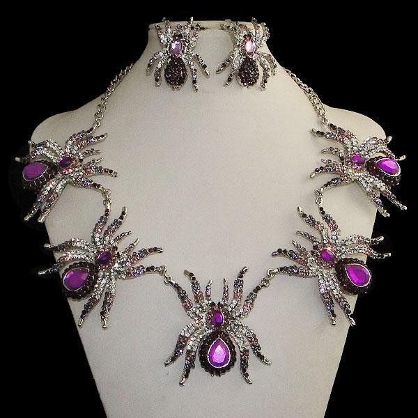 Spider Tarantula Insect Necklace Earrings Set Purple Austrian Crystal Halloween