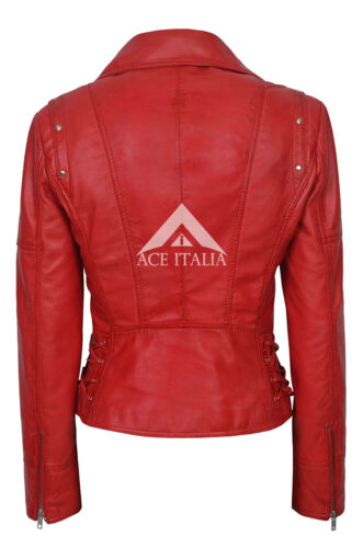 Ladies Leather Jacket LACED Red Biker Style Studded Motorcycle Designer 9824