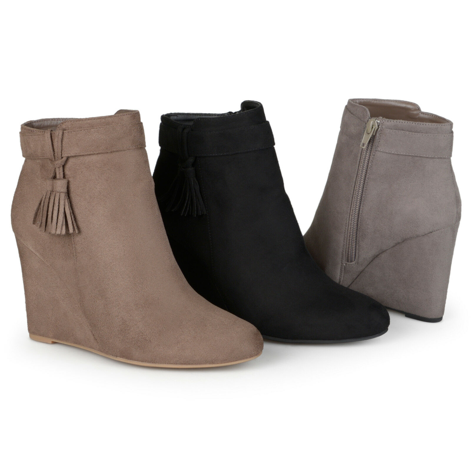 Brinley Co. Womens Wedge Tasseled Faux Suede Booties