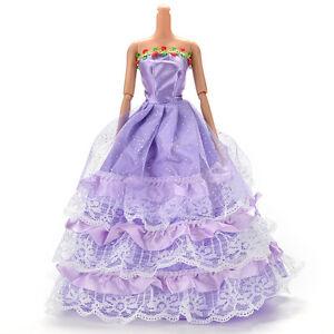1 Pcs Long  Trailing Dress for s Purple Handmade Dresses for Doll H&T