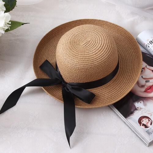 Foldable Ladies Women Summer Sun Beach Floppy Derby Hat Wide Brim Straw Ribbon
