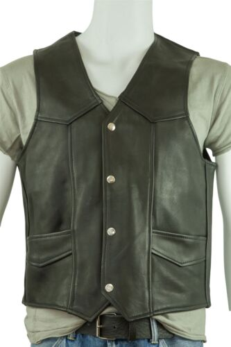 Sleeveless Biker Leather Osx Classic Men Black Jacket Waistcoat qEzZx6