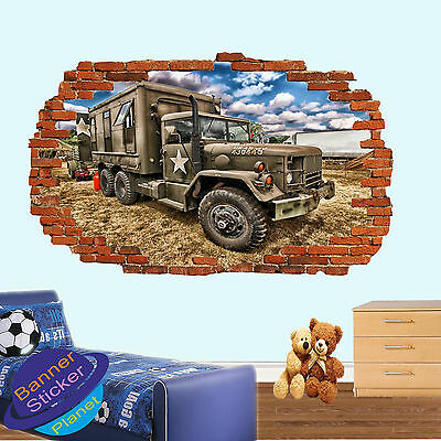 Guerre Champ US Army Camion Autocollant Mural 3D Smashed Room Decor Decal murale YF7