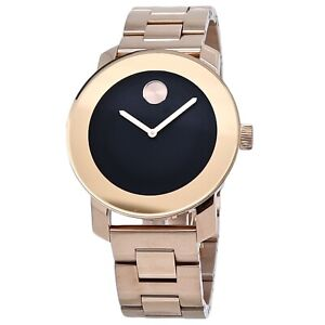 Movado Bold Black Dial Rose Gold Ladies Watch 3600463