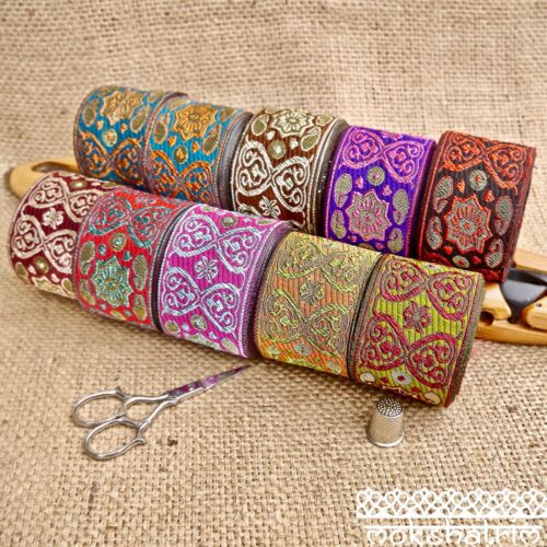 Traditional Indian Asian Baroque Paisley Jacquard Ribbon MA134