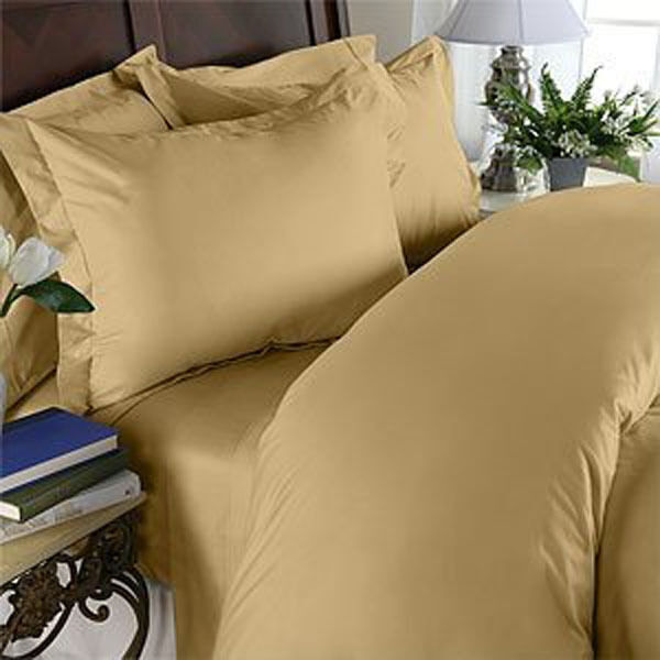 1000 Thread Count Egyptian Cotton 1000 TC Bed Sheet Set SPLIT KING Gold Solid