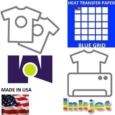 IRON ON Inkjet Opaque Heat Transfer Paper for dark Fabrics-Blue Grid-25Sh 8.5x11