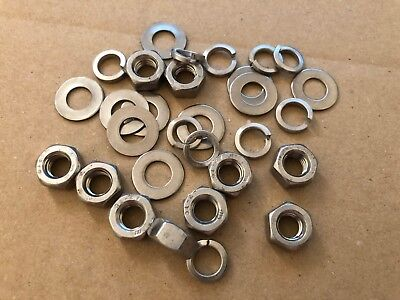 10 OF EACH New PACK OF M8 A2-70 STAINLESS STEEL SPRING PLAIN WASHERS /& NUTS