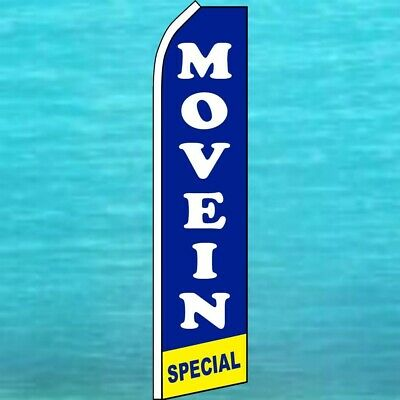 MOVE IN SPECIAL Red Real Estate Swooper Banner Feather Curved Tall Top Flag Sign