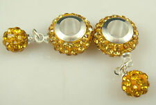 Gorgeous Czech Crystals Dangle Bead fit European Charm Bracelet Earrings e3