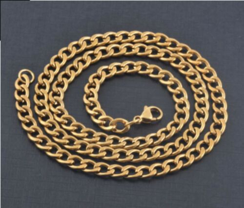 "6mm 18-22/"" largo Collar de acero inoxidable Curb Enlace Cadena Colgante oro Tn STCR 3G"