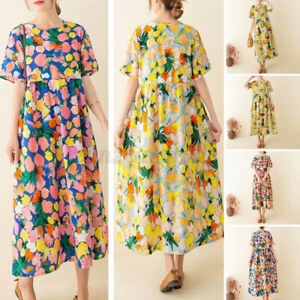 UK-Womens-Summer-Short-Sleeve-Printed-Casual-Loose-Kaftan-Baggy-Dress-Plus-Size